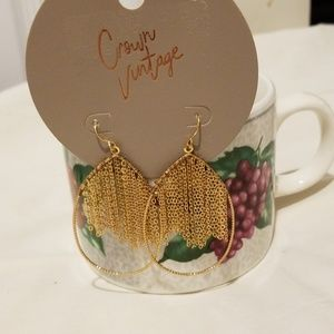 Crown Vintage Chain Fringe Teardrop Earrings